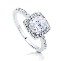Sterling Silver Cushion CZ Halo Ring 1.02 CTW