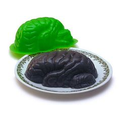 Zombie Brain Jello Mold the Walking Dead Horror Decor: This plastic mold produces the left hemisphere of a jiggly brain, about x - larger than average for the general populace, but just right for our customers. Brain Jello Mold, Zombie Themed Party, Zombie Apocalypse Party, Brain Shape, Zombie Brains, Zombie Gifts, Geek Toys, Horror Party, Best Zombie