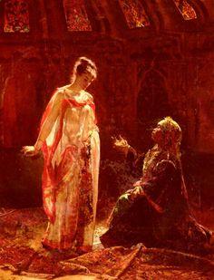 Algérie - Peintre AllemandEdouard Frederic Wilhelm Richter (1844 - 1913), huile sur toile, Titre : La diseuse de bonne aventure