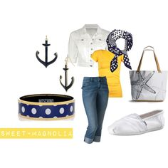 Don't love all of it, but I like the nautical feel of this outfit!