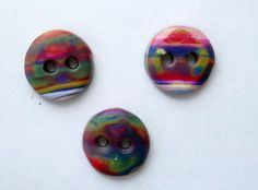 3/4 inch round rainbow inspired buttons handmade from polymer clay