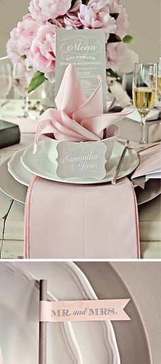 Table setting - light pink and grey bridal shower?