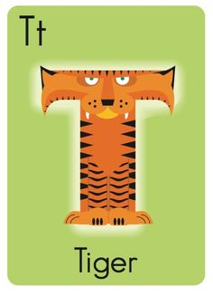 T is for Tiger! From my Animal Alphabet Flash Card series. See more at: http://www.zazzle.com/abc_buddies
