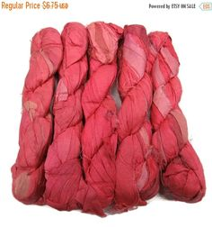 SALE 50g Recycled Sari Silk Ribbon Coral by SilkDivine on Etsy