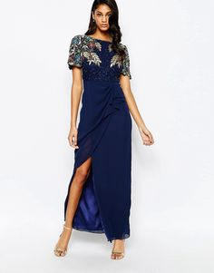 Virgos+Lounge+Ariann+Embellished+Maxi+Dress+With+Frill+Wrap+Skirt