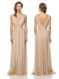 54e69d0c42f7 Online Shop Hot&Sexy 2014 Simple V Neck Champagne Chiffon Long Bridesmaid  Dresses Backless Formal Gowns Beach Bridesmaid Dress For Weddings