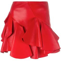Alexander McQueen ruffled mini skirt (€2.345) ❤ liked on Polyvore featuring skirts, mini skirts, red, ruffle mini skirt, alexander mcqueen skirt, red skirt, frill skirt and alexander mcqueen