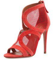 Populares multicolores Aquazzura rojo / negro gamuza y net peep toe high heels gladiador mujeres sandalias