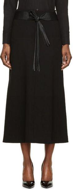 Saint Laurent Black Wool Crêpe Fringe Belted Skirt