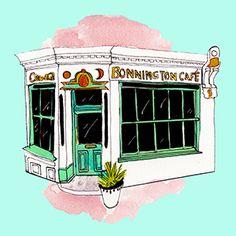 Bonnington Cafe- Illustration By Rebecca Kiff. www.kit-magazine.com January, Magazine, Kit, Illustration, Outdoor, Falling Down, Outdoors, Magazines, Illustrations