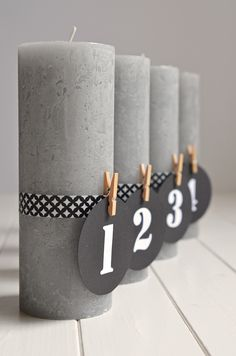DIY für puristische Adventskerzen mit Zahlen (und ohne Tannengrün!) - advent candles, pure, elegant and lovely, easy diy