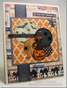 LeAnne Pugliese WeeInklings Halloween Scary Pumpkin - Vintage Halloween card