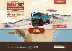 A equipe da Iveco conquistou as 1ª, 2ª e 6ª colocações no Top 6 do Rali Dakar 2012, categoria Caminhões. Para divulgar a jornada vitoriosa, criamos um hotsite com um mapa da prova e as principais informações de cada percurso. Além de curiosidades e depoimentos, o site contou ainda com fotos da equipe vencedora.
