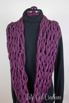 Large Knit Chunky Wool Blend Infinity Scarf by CityGirlCreations98