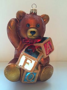 Radko FAO Schwarz Teddy Bear with Blocks Christmas Ornament LTD Rare 1997