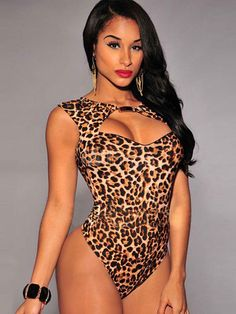 Leopard Print Bodysuit Sleeveless Cut Out Top fcb184105