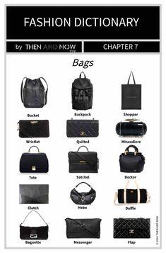Fashion Dictionary - Types of Bags Fashion Terminology, Fashion Terms, Fashion 101, Fashion Bags, Fashion Accessories, Fashion History, Womens Fashion, Daily Fashion, Looks Style