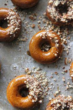 baked pumpkin doughnuts with coconut maple caramel glaze