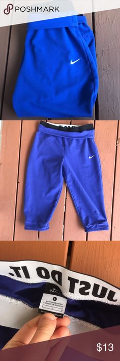 Nike 3/4 Sweats Girls large nike sweats. Just do it waistband. Looks blue in pictures but it's purple. Nike Bottoms Sweatpants & Joggers