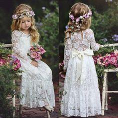 Flower Girl Dresses Boho, Girls Lace Dress, Flower Girl Headbands, Lace Flower Girls, Lace Flowers, Boho Dress, Girls Dresses, Dress Lace, Toddler Flower Girl Dresses