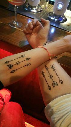 Forearm arrow tattoo. An eternal connection.