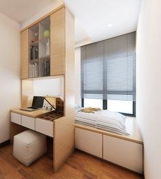 Компактное размещение небольшой кровати и рабочего места