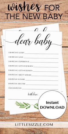 Neutral baby shower baby wishes printable by LittleSizzle. Greenery themed baby shower wish cards for the new baby. Create a magnificent keepsake with this gender neutral baby shower wishes for baby cards. Let every baby shower guest write down their wishes for the new baby and collect the cards for the lucky mom-to-be. Simply download and print. Complete the look with our other green baby shower printables. #babyshowerideas #babyshowerthemes #babyshowergames #DIY #printable #neutral…