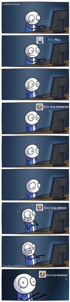 En esta viñeta, podéis ver la típica reacción que tenemos muchos de nosotros cuando estamos en #SocialMedia. #Humor