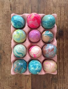 Hollowed out eggs, marbleized with nail polish