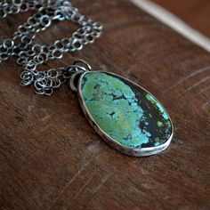 Natural Blue Green Turquoise and Sterling Silver Necklace Black Friday Etsy Cyber Monday Etsy