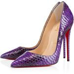 Take a walk on these beautiful purple pumps from Christian Louboutin. These pumps will surely add just the right amount of edgy style to your outfit. So, prepare to be swept off your feet in this beautiful violet pumps. Stiletto Shoes, High Heels Stilettos, Classy Heels, Purple Pumps, Christian Louboutin Outlet, Pointed Toe Pumps, Beautiful Shoes, Pump Shoes, Sneakers