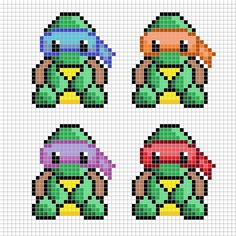 Teenage Mutant Ninja Turtles Cross Stitch or Beading Pattern – Bügelperlen – Hama Beads Geek Cross Stitch, Small Cross Stitch, Cross Stitch Bookmarks, Cross Stitch Cards, Beaded Cross Stitch, Cross Stitching, Cross Stitch Embroidery, Embroidery Patterns, Cross Stitch Baby