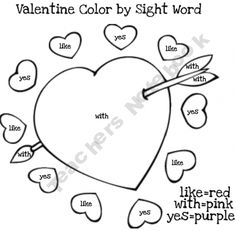 Valentine color by sight word FREE printable from the MoffattGirls shop on teachersnotebook.com. Happy blogiversary to the Moffatt Girls!