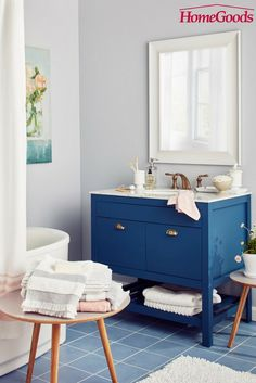 Soak up the last few weeks of summer in a bathroom space that makes you want to light some candles, fill up the tub, and destress.   All your at-home spa needs, in stores, now!  Pamper yourself with HomeGoods!