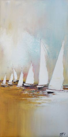 Voyage en voilier II - Painting ©2015 by Olivier Messas -                                                            Contemporary painting, Canvas, Sailboat, segel, voile, voilier, sailing, boat, mer