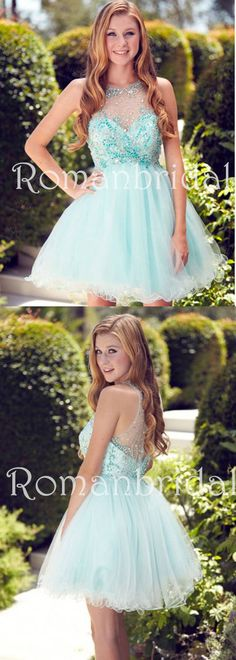 2018 Newest Short Jeweled Neck Sleeveless Pleated Tulle Dress, Puff mini Homecoming Dress , HD0319