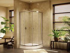 "Fleurco Banyo Amalfi Round 36"" x 36"" Frameless Curved Glass Sliding Shower Doors EA36 $857.60"