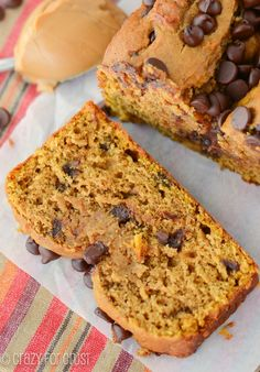Peanut Butter Pumpkin Bread with chocolate chips::