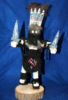 """The Apache Crown Dancer Kachina is also known as the Mountain Spirit Dancer. He possesses the power to heal and treats his patients by blowing away the sickness. This 11.5"""" tall Navajo Kachina is 36.95 w/ free shipping #kachina #healer"""