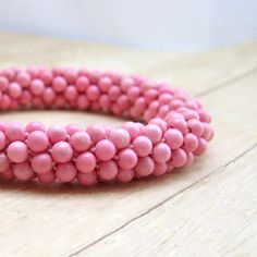 Handmade Pink Rhodonite Rhinestone Bangle Bracelet,  Women's Beaded Accessories Jewelry