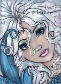 """The """"Silver and Sapphire"""" Mermaid is available as a 5x7 fine art Print. This has been the most popular of all the mermaid art that I have painted."""