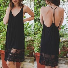 CAMILLE midi lace dress - BLACK Midi Lace Slip dress . Can be worn alone or for layering. Super cute back design. 90% Viscose 10% Spandex. AVAILABLE IN BLACK OR IVORY.  NO TRADE, PRICE FIRM Bellanblue Dresses Midi