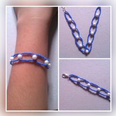 Purple seed bead with white moti bracelet. Price - Rs 60/-