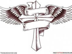 angel with name banner tattoo design baby angel wings tattoo Wing Tattoo Men, Cross Tattoo Designs, Tattoo Designs Men, Cross With Wings Tattoo, Cross Tattoo For Men, Nature Tattoos, Body Art Tattoos, Sleeve Tattoos, Tattoo Sleeves