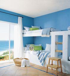 Boys Beach Bedroom for Twins Bedroom Color Schemes, Bedroom Themes, Kids Bedroom, Kids Rooms, Coastal Bedrooms, Shared Bedrooms, Bunk Beds Built In, Beach Room, Best Mattress