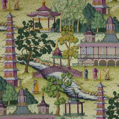 Manuel Canovas Pagoda wallpaper - Architecture and Home Decor - Bedroom - Bathroom - Kitchen And Living Room Interior Design Decorating Ideas - Chinoiserie Fabric, Chinoiserie Wallpaper, Chinoiserie Chic, Fabric Wallpaper, Wallpaper Ideas, Chinese Wallpaper, Willow Pattern, Rose Trees, Asian Decor
