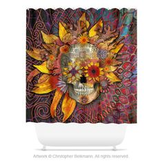 """""""Origins Botaniskull"""" - Day of the dead sun flower sugar skull shower curtain. Customize your bathroom with unique shower curtains designed by artist Christopher Beikmann. Made from 100% polyester, th"""