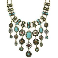 Marrakesh Turquoise Tribal Bib Necklace AMAZING