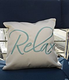 Sunbrella 14x14 Pillow, Canvas Pillow, Throw Pillow, Decorative Pillow, Embroidered Pillow, Relax Pillow, Indoor/Outdoor Pillow on Etsy, $35.00