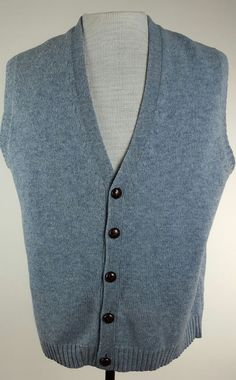 Brooks Brothers Mens XL Gray Sweater Vest Cardigan Button up 100 ...